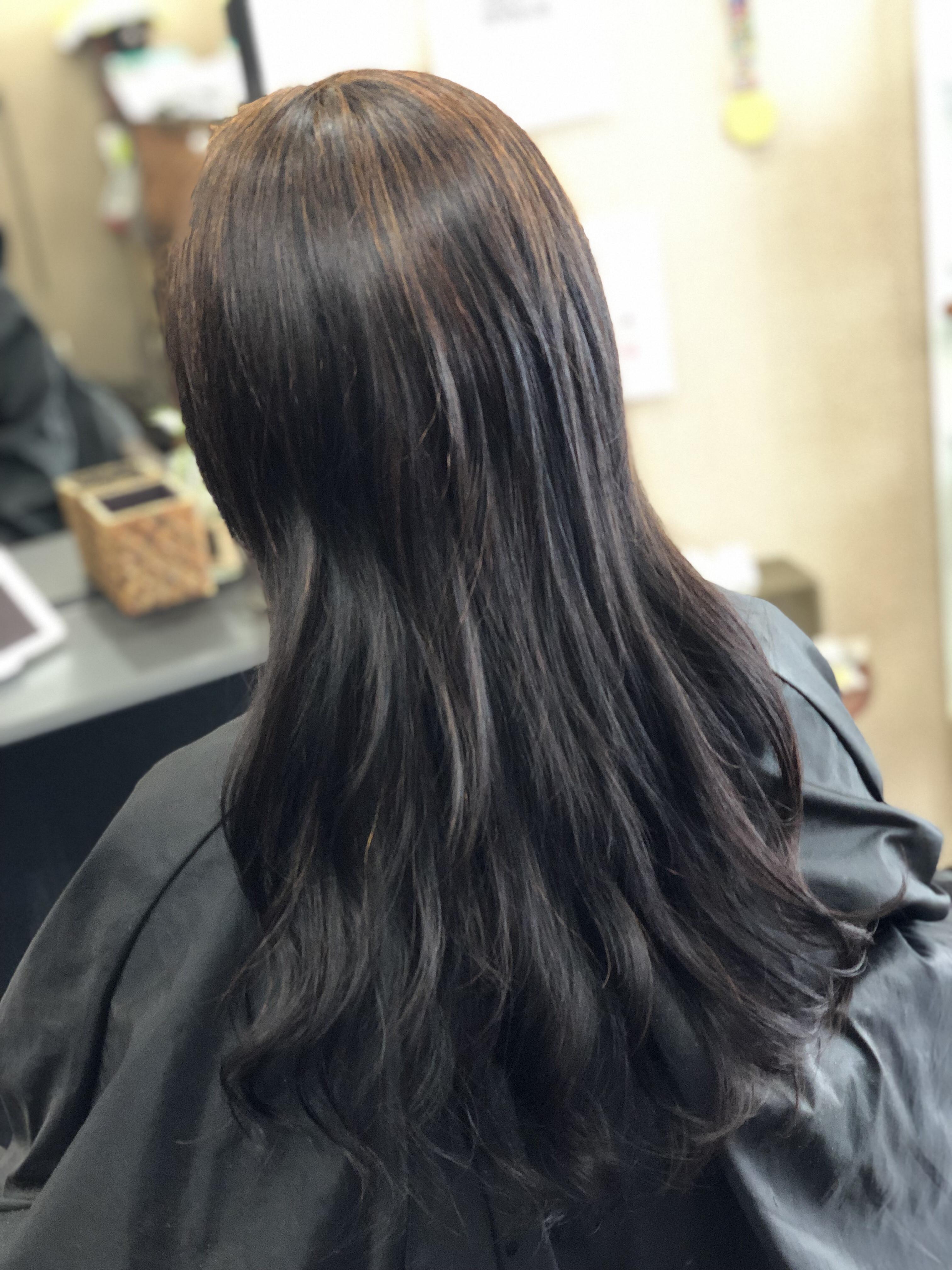 ハナヘナトリートメントを施した髪